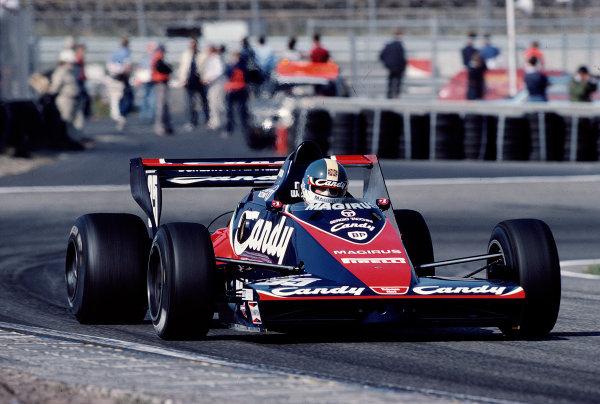 1983 Dutch Grand Prix.Zandvoort, Holland.26-28 August 1983.Derek Warwick (Toleman TG183B Hart) 4th position.Ref-83 HOL 41.World Copyright - LAT Photographic