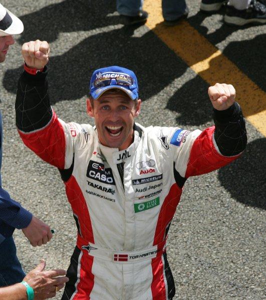 2004 Le Mans 24 Hours. Le Mans, France. 12th-13th June 2004. Tom Kristensen celebrates after victory. Copyright 2004, Richard Dole, USA LAT PHOTOGRAPHIC