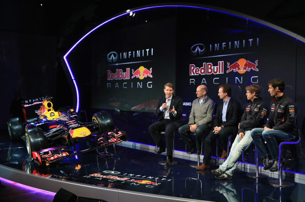 Milton Keynes, UK 3rd February 2013 .(L-R) Simon Sproule, Infiniti Corporate Vice-President Global Marketing, Adrian Newey, Chief Technical Officer, Christian Horner, Team Principle, Mark Webber of Australia, and Sebastian Vettel of Germany talk to the guests Photo: Richard Heathcote/Getty Images/Red Bull Racing () ref: Digital Image 160597331_10