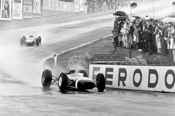 1965 Belgian Grand Prix.Spa-Francorchamps, Belgium. 11-13 June 1965.Jo Siffert, Brabham BT11, 8th position, leads Jack Brabham, Brabham BT11, 4th position, action.World Copyright - LAT Photographicref: B/W Print