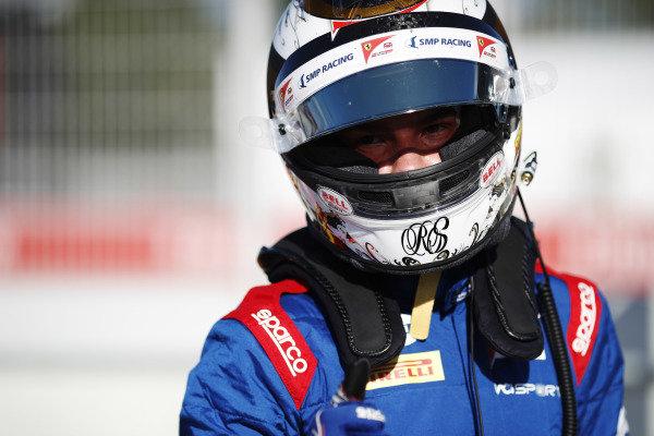 Robert Shwartzman (RUS) PREMA Racing celebrates after taking pole position