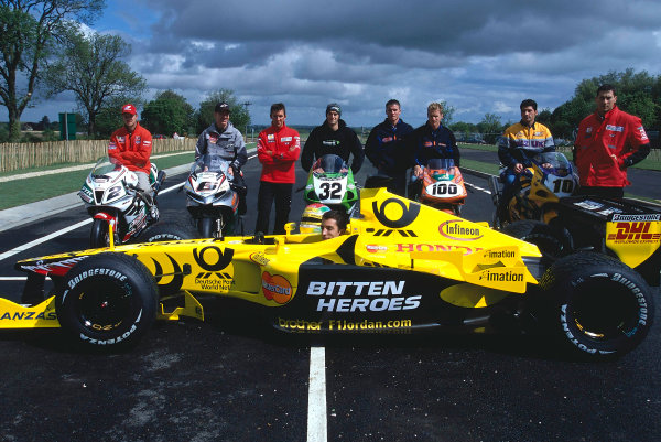 2002 Dadford Road Opening.Silverstone, England. 23rd May 2002.World Superbike riders and Justin Wilson help open the new road leading to Silverstone. World Copyright: Peter Spinney/LATref: 35mm Image
