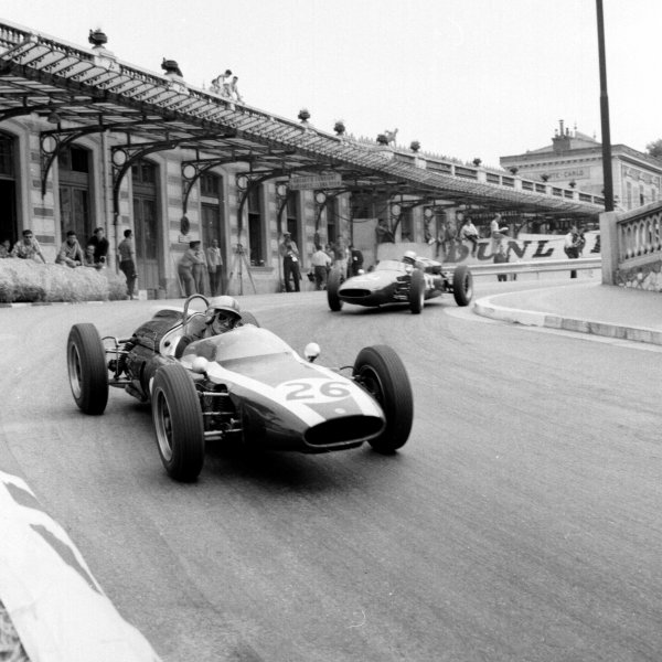 1961 Monaco Grand Prix.Monte Carlo, Monaco.11-14 May 1961.Bruce McLaren (Cooper T55 Climax) leads John Surtees (Cooper T53 Climax) out of Station Hairpin.Ref-8668.World Copyright - LAT Photographic