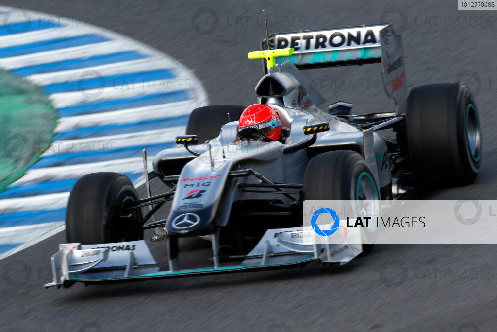 Jerez, Spain.11th February 2010.Michael Schumacher, Mercedes GP W01. Action.World Copyright: Andrew Ferraro /LAT Photographicref: Digital Image_Q0C5809 jpg