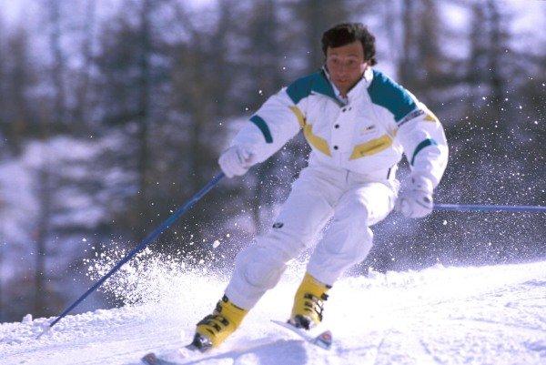 Sestriere, Italy. 1989. Riccardo Patrese descends a ski slope