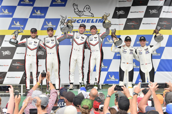 #911 Porsche GT Team Porsche 911 RSR, GTLM: Patrick Pilet, Nick Tandy #912 Porsche GT Team Porsche 911 RSR, GTLM: Earl Bamber, Laurens Vanthoor, #3 Corvette Racing Corvette C7.R, GTLM: Jan Magnussen, Antonio Garcia celebrate in victory lane