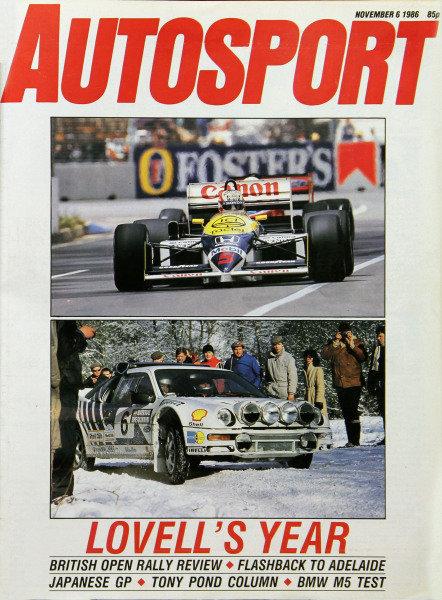 Cover of Autosport magazine, 6th November 1986