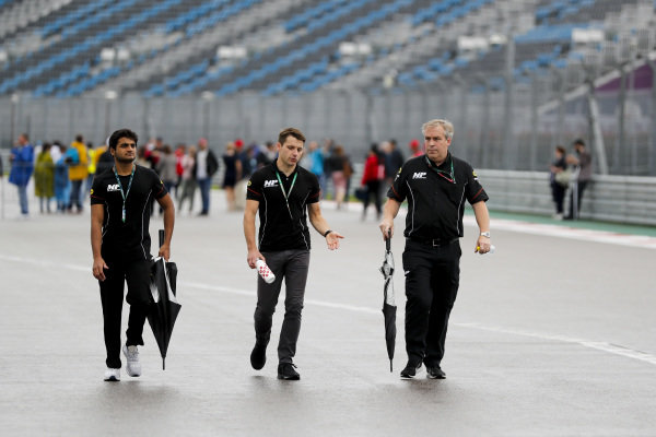 SOCHI AUTODROM, RUSSIAN FEDERATION - SEPTEMBER 26: Mahaveer Raghunathan (IND, MP MOTORSPORT) walks the track during the Sochi at Sochi Autodrom on September 26, 2019 in Sochi Autodrom, Russian Federation. (Photo by Carl Bingham / LAT Images / FIA F2 Championship)