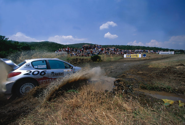 2002 World Rally ChampionshipAcropolis Rally, Greece. 13th - 16th June 2002.Harri Rovanpera/Risto Pietilainen, Peugeot 206 WRC, action.World Copyright: McKlein/LAT Photographicref: 35mm Image A16