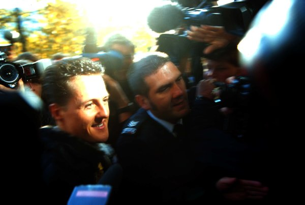 FIA Hearing, RAC MSA, Colnbrook, Berkshire, Great Britain.11 November 1997.Michael Schumacher arrives at the RAC MSA Headquarters in Colnbrook for his hearing into his driving at the European Grand Prix at Jerez in which he clashed with Jacques Villeneuve.World - LAT Photographic