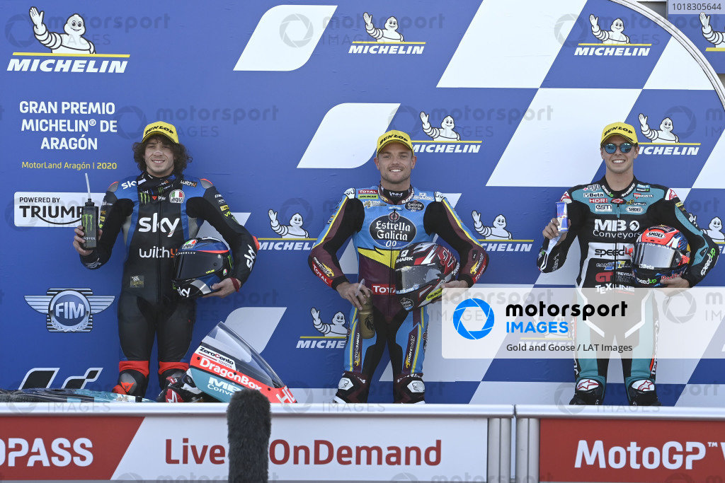 Polesitter Sam Lowes, Marc VDS Racing, second place Marco Bezzecchi, Sky Racing Team VR46, third place Fabio Di Giannantonio, Speed Up Racing.
