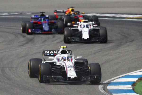 Sergey Sirotkin, Williams FW41 Mercedes, leads Lance Stroll, Williams FW41 Mercedes.