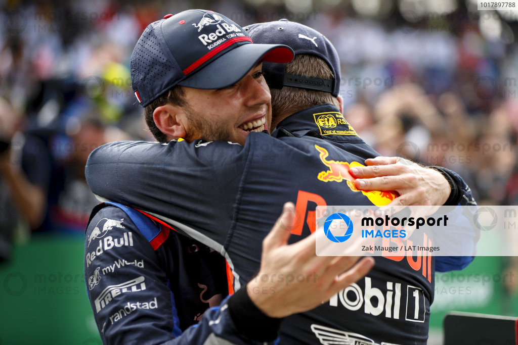 Race winner Max Verstappen, Red Bull Racing and Pierre Gasly, Toro Rosso celebrate in Parc Ferme