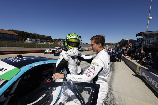 #16: Wright Motorsports Porsche 911 GT3R, GTD: Patrick Long, Trent Hindman, Motul Pole Award winner, pole position