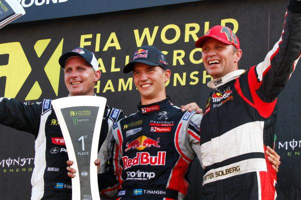 2014 FIA World Rallycross Championship Round 10 Franciacorta, Italy 27th & 28 th September 2014 Richard Goransson, Timmy Hansen, Petter Solberg, podium Worldwide LAT / McKlein