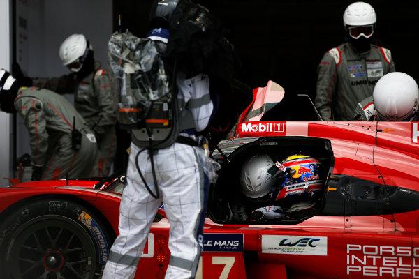2015 Le Mans 24 Hours. Circuit de la Sarthe, Le Mans, France. Wednesday 10 June 2015. Porsche Team (Porsche 919 Hybrid - LMP1), Timo Bernhard, Mark Webber, Brendon Hartley.  World Copyright: Zak Mauger/LAT Photographic. ref: Digital Image _L0U1946