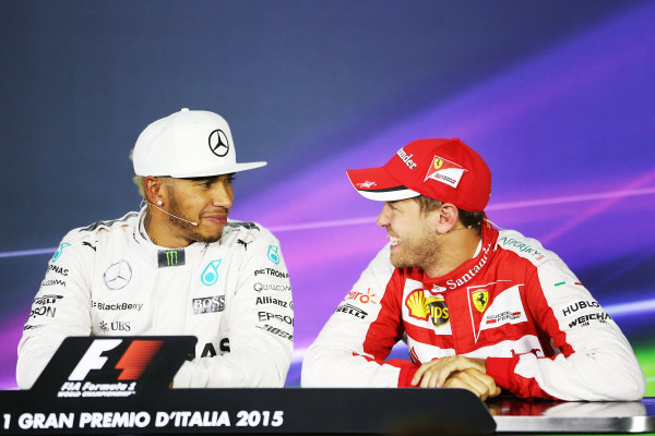 Autodromo Nazionale di Monza, Monza, Italy. Saturday 5 September 2015. Lewis Hamilton, Mercedes AMG, and Sebastian Vettel, Ferrari, in the post qualifying Press Conference. World Copyright: Jed Leicester/LAT Photographic ref: Digital Image JL2_8738