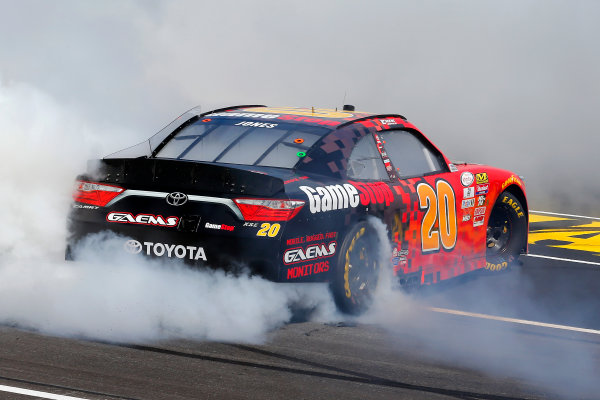2017 NASCAR Xfinity Series My Bariatric Solutions 300 Texas Motor Speedway, Fort Worth, TX USA Saturday 8 April 2017 Erik Jones, Game Stop/ GAEMS Toyota Camry celebrates his win with a burnout  World Copyright: Russell LaBounty/LAT Images ref: Digital Image 17TEX1rl_2581
