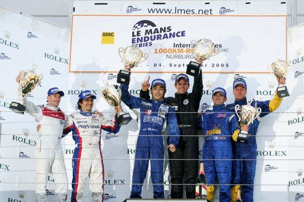 2005 LeMans Endurance Series,Nurburgring, Germany. 4th September 2005. Podium, World Copyright: Jakob Ebrey/LAT Photographic.