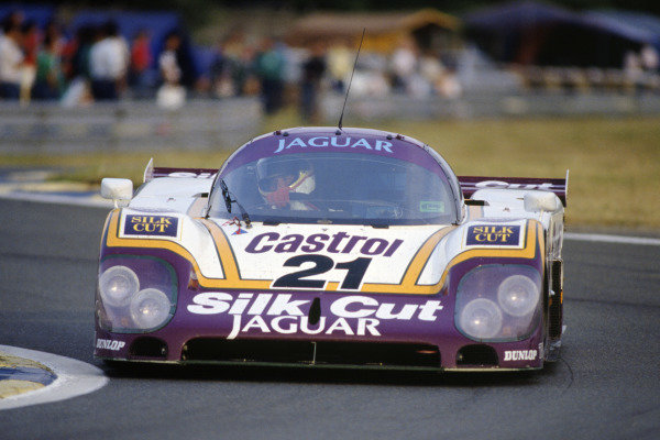 Le Mans, France. 11th - 12th June 1988 Danny Sullivan/Davy Jones/Price Cobb Jaguar XJR-9 LM, 16th position, action. World Copyright: LAT Photographic ref: 88LM57
