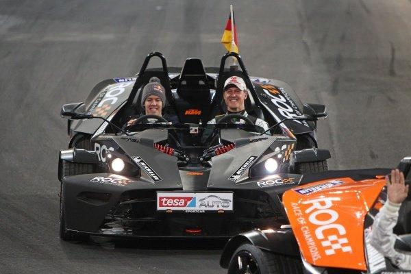 Michael Schumacher (GER), Mercedes GP, seven-time Formula 1 World Champion), Sebastian Vettel (GER), Red Bull Racing, 2010 and 2011 Formula 1 World Champion.Race of Champions, Esprit Arena, Dusseldorf, Germany, 3-4 December 2011.