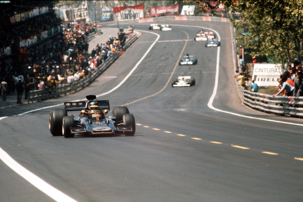 Montjuich Park, Barcelona, Spain.27-29 April 1973.Ronnie Peterson (Lotus 72 Ford) leads Denny Hulme (McLaren M23 Ford), Jackie Stewart and Francois Cevert (both Tyrrell 006 Ford's).Ref-35mm 73 ESP 55.World Copyright - LAT Photographic