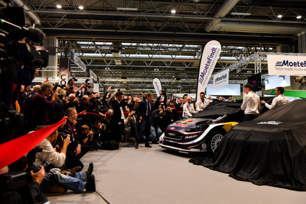 Autosport International Exhibition. National Exhibition Centre, Birmingham, UK. Thursday 11th January 2017. Malcolm Wilson, Sebastien Ogier and Elfyn Evans from M-Sport Ford gather at the WRC season launch.World Copyright: Mark Sutton/Sutton Images/LAT Images Ref: DSC_7219