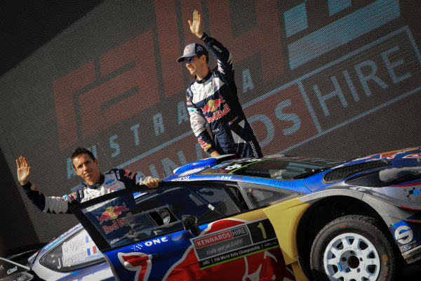 2017 FIA World Rally Championship, Round 13, Rally Australia 2017, 16-19 November 2017, Sebastien Ogier, Julien Ingrassia, Ford, podium, Worldwide Copyright: LAT/McKlein