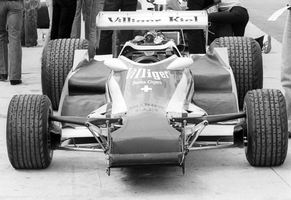 A partially built Shadow DN9 in the pits.Formula One Testing, Brands Hatch, England, c. June 1978.