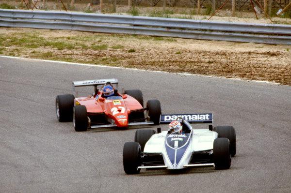 1982 Dutch Grand Prix. Zandvoort, Holland. 3 July 1982.Nelson Piquet, Brabham BT50-BMW, 2nd position, leads Patrick Tambay, Ferrari 126C2, 8th position, action.World Copyright: LAT PhotographicRef: 35mm transparency 82HOL
