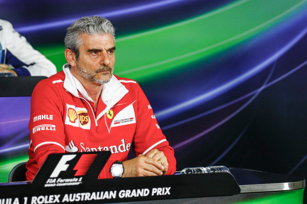 Albert Park, Melbourne, Australia. Friday 24 March 2017. Maurizio Arrivabene, Team Principal, Ferrari, in the Team Principals Press Conference. World Copyright: Sam Bloxham/LAT Images ref: Digital Image _J6I1840