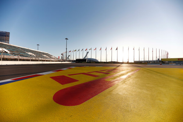 Sochi Autodrom, Sochi, Russia. Thursday 27 April 2017. A scenic view of the Sochi Autodrom, including Pirelli signage.  World Copyright: Glenn Dunbar/LAT Images ref: Digital Image _X4I5456
