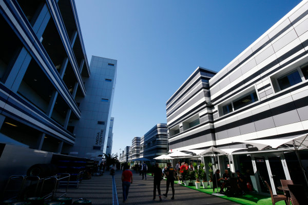 Sochi Autodrom, Sochi, Russia. Thursday 27 April 2017. Paddock atmosphere, including the media centrre. World Copyright: Andy Hone/LAT Images ref: Digital Image _ONZ8643