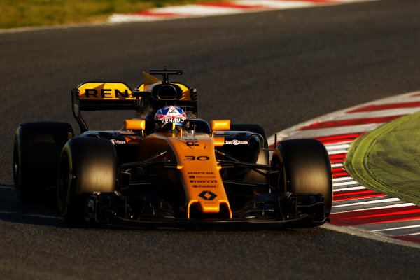 Circuit de Barcelona Catalunya, Barcelona, Spain. Thursday 02 March 2017. Jolyon Palmer, Renault R.S.17. World Copyright: Glenn Dunbar/LAT Images ref: Digital Image _X4I3268
