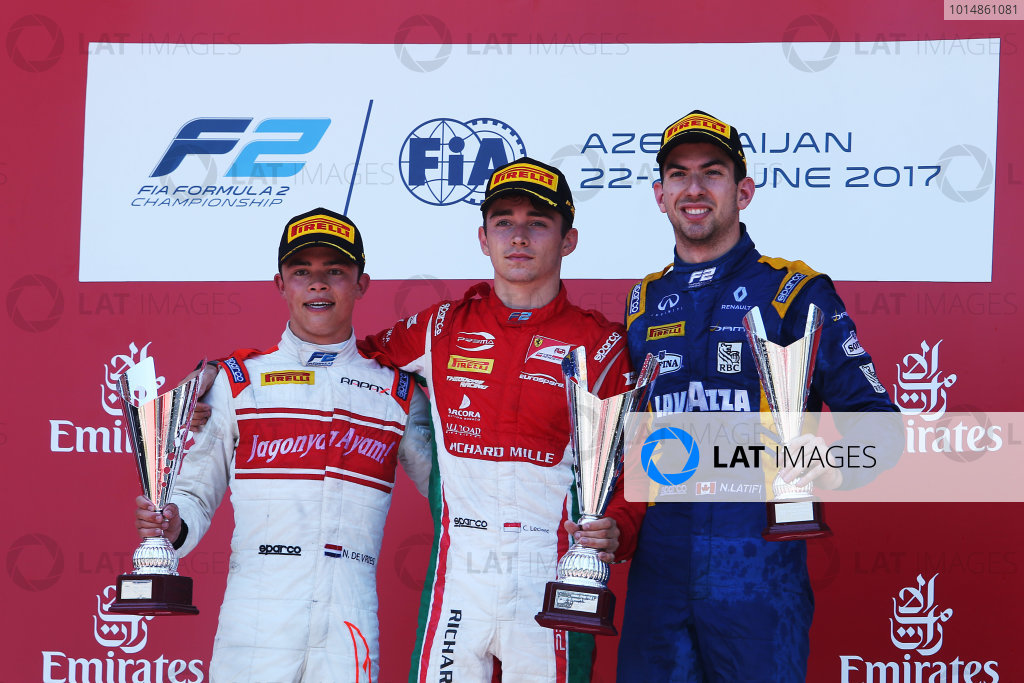 2017 FIA Formula 2 Round 4. Baku City Circuit, Baku, Azerbaijan. Saturday 24 June 2017. Nyck De Vries (NED, Rapax), Charles Leclerc (MCO, PREMA Racing) and Nicholas Latifi (CAN, DAMS)  Photo: Charles Coates/FIA Formula 2. ref: Digital Image AX0W9686