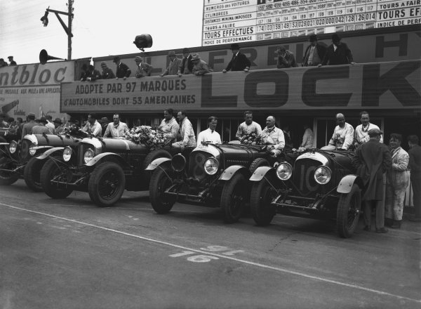 """Le Mans, France. 15th - 16th June 1929.The winning Bentley Speed Six team left-to right: Jack Dunfee/Glen Kidston (number 9), Woolf Barnato/Henry """"Tim"""" Birkin (1), Frank Clement/Jean Chassagne (8) and John Benjafield/Andre d'Erlanger (10). Barnato/Birkin led a 1st, 2nd 3rd and 4th place finish, portrait. Ref: B2085.World Copyright: LAT Photographic."""