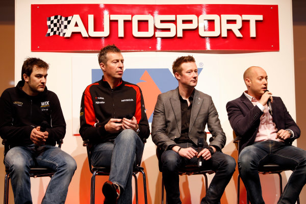 Autosport International Show NEC, Birmingham.  Sunday 13th January 2013. Rob Austin, Matt Neal, Gordon Shedden and Rob Huff on stage. World Copyright:Glenn Dunbar/LAT Photographic ref: Digital Image _89P4950