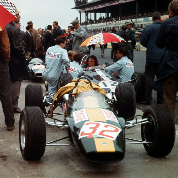 Nurburgring, Germany. 5-7 August 1966.The F2 Lotus 44 Cosworth of Piers Courage and Dan Gurney (Eagle T1G Climax) in the pits. Ref-3/2321.World Copyright - LAT Photographic