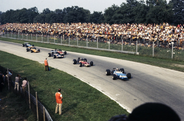 Jackie Stewart, Matra MS80 Ford, leads Graham Hill, Lotus 49B Ford, and Piers Courage, Brabham BT26A Ford.