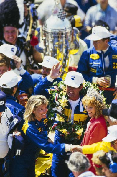 Al Unser celebrates his fourth Indianapolis 500 win in Victory Lane.