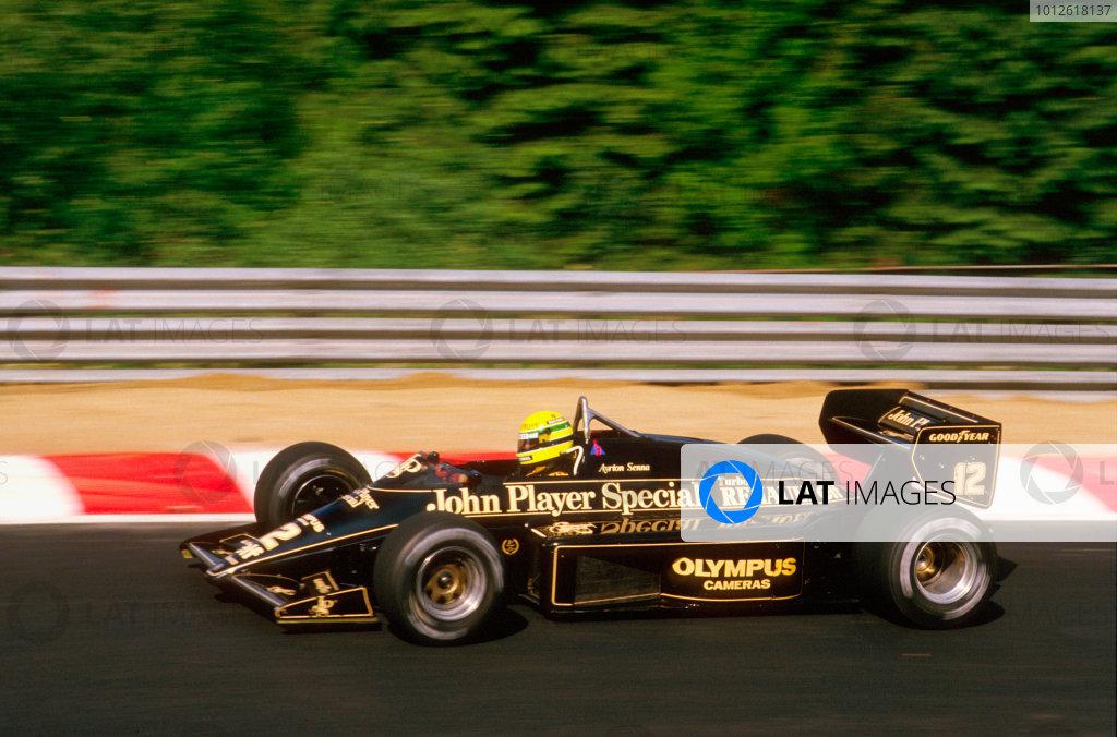 Spa-Francorchamps, Belgium.13-15 September 1985.Ayrton Senna (Lotus 97T Renault) 1st position.Ref-85 BEL 11.World Copyright - LAT Photographic