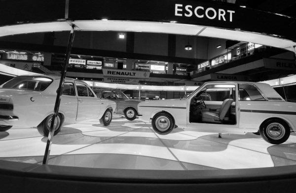 Ford stand: Lotus Mk II Cortina (right), Escort (left) and Mk II Cortina Saloon (centre).