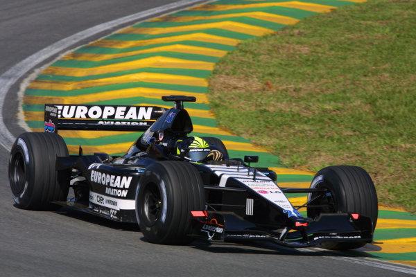 2001 Brazilian Grand Prix.Interlagos, Sao Paulo, Brazil. 30/3-1/4 2001.Tarso Marques (Minardi PS01 European) 9th position.World Copyright - LAT Photographicref: 8 9 MB Digital