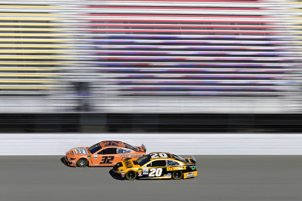 #32: Corey LaJoie, Go FAS Racing, Ford Mustang Schluter Systems and #20: Erik Jones, Joe Gibbs Racing, Toyota Camry DeWalt