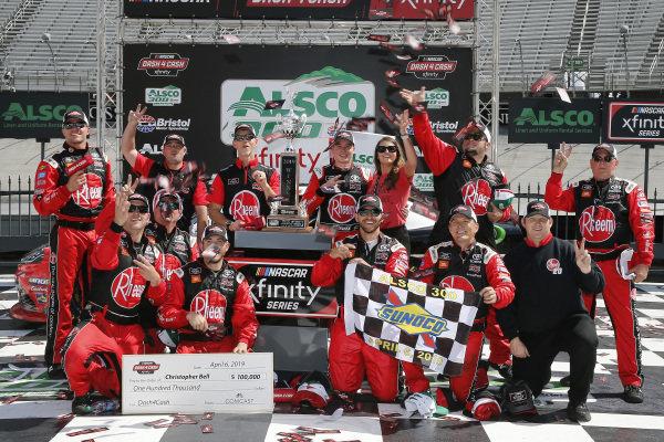 #20: Christopher Bell, Joe Gibbs Racing, Toyota Supra Rheem celebrates in victory lane
