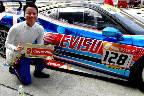 David Pun, Blackbird Concessionaires HK, celebrates the Coppa Shell pole position
