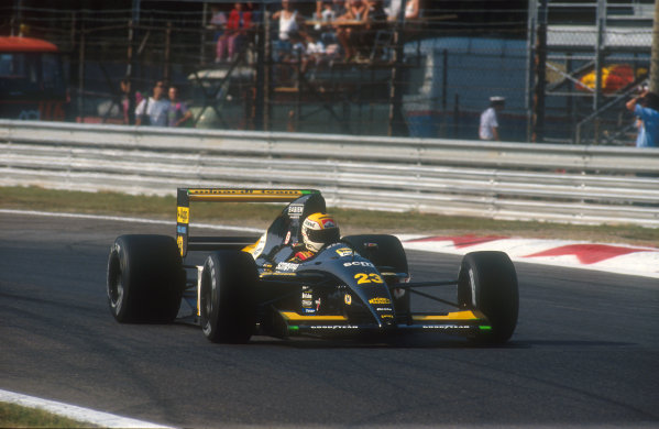 1991 Italian Grand Prix.Monza, Italy.6-8 September 1991.Pierluigi Martini (Minardi M191 Ferrari). He exited the race with brake problems and spun off on lap 9.Ref-91 ITA 20.World Copyright - LAT Photographic