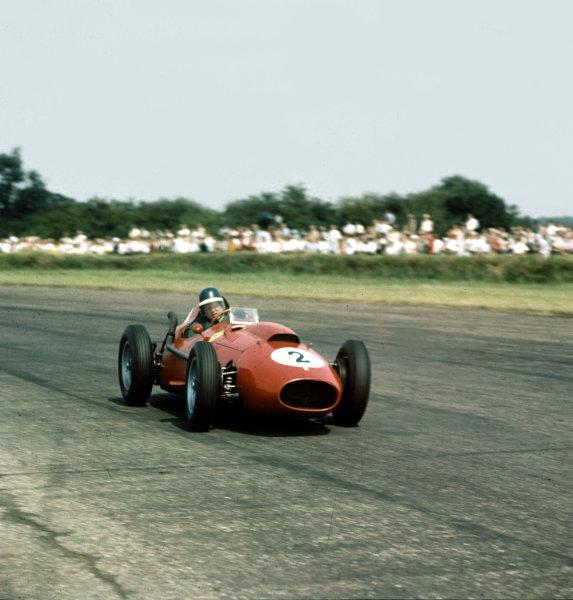 1958 British Grand Prix. Silverstone, England. 17-19 July 1958. Mike Hawthorn (Ferrari Dino 246) 2nd position.  Ref-3/0092. World Copyright - LAT Photographic