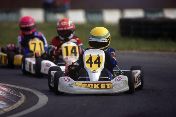 1995 Super One British Kart Championship.Lewis Hamilton, 1st position, Cadet Class.World Copyright: Chris Dixon/LAT Photographic.ref: 95 Karts A05