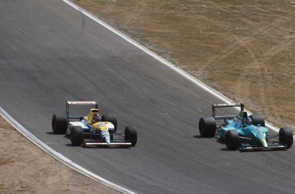 Thierry Boutsen, Williams, and Ivan Capelli, Leyton House German GP, Hockenheim, Germany, 29 July 1990